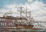 Sailing Vessel Print Metal Prints - Sehome Coal Wharf Metal Print by James Williamson