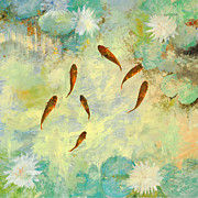Fish Pond Prints - Sei Pesciolini Verdi Print by Guido Borelli