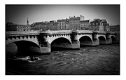 Black And White Paris Pyrography Posters - Seine River Poster by Cyril Jayant