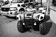 Quad Prints - Selection Of Police Vehicles Including Quad Atv On Display Outside Holywood Police Station On An Ope Print by Joe Fox