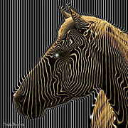 Signed Digital Art - Self-conscious attempt to become zebras.  2013  80/80 cm.  by Tautvydas Davainis