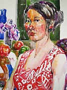 Becky Kim Painting Metal Prints - Self Portrait 9 - with still life Metal Print by Becky Kim