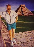Portraits Art - Self Portrait at Chichen Itza by John Malone