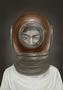 Diving Helmet Art - Self Portrait by Balazs Solti