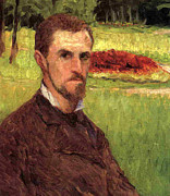 Male Posters - Self Portrait Poster by Gustave Caillebotte