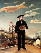 Fine Arts Framed Prints - Self portrait Framed Print by Henri Rousseau