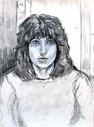 Self Portrait Pastels Prints - Self Portrait in Charcoal and Chalk Print by Anita Dale Livaditis