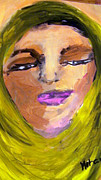 Hijab Paintings - Self Portrait in Green Hijab by Mohamdania Mohamdania