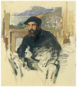 Self-portrait In His Atelier Print by Claude Monet