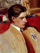 Youthful Painting Metal Prints - Self Portrait in Profile Metal Print by Joaquin Sorolla y Bastida