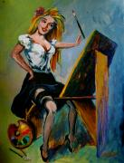 Pin-up Paintings - self portrait - Karon by Karon Melillo DeVega