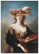 Woman Artist Framed Prints - Self Portrait Framed Print by Marie Louise Elisabeth Vigee-Lebrun