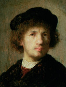 Young Man Painting Framed Prints - Self Portrait Framed Print by Rembrandt Harmenszoon van Rijn