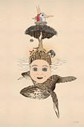 Tree Creature Mixed Media Prints - Self-portrait Print by Ruta Dumalakaite