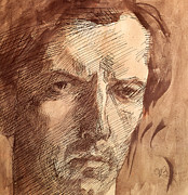 Watercolors Drawings - Self Portrait by Umberto Boccioni