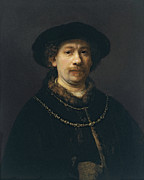 Chains Paintings - Self Portrait Wearing a Hat and Two Chains by Rembrandt van Rijn