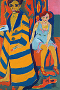Abstract Expressionist Metal Prints - Self Portrait with a Model Metal Print by Ernst Ludwig Kirchner