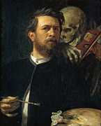 Old Masters Posters - Self Portrait With Death Poster by Arnold Bocklin