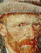Beards Painting Framed Prints - Self-Portrait with hat Framed Print by Vincent van Gogh