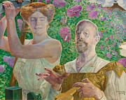 Famous Artists - Self-portrait with Muse and Buddleia by Jacek Malczewski