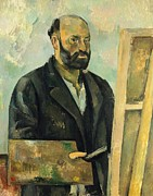 Beard Prints - Self Portrait with Palette Print by Paul Cezanne