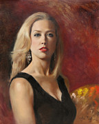 Portraiture Painting Originals - Self Portrait with Red Lipstick by Anna Bain