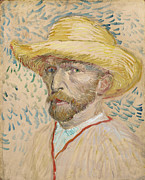 Self-portrait Prints - Self Portrait with Straw Hat Print by Vincent Van Gogh
