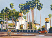 Palm Trees Paintings - Self Realization Fellowship Encinitas by Mary Helmreich