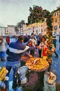Historical Paintings - Selling chestnuts in Piazza di Spagna by George Atsametakis