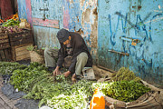 Moroccan Market Prints - Selling herbs in the souk Print by Patricia Hofmeester