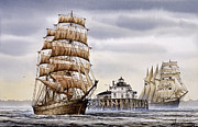 Tall Ship Painting Prints - Semi-ah-moo Lighthouse Print by James Williamson