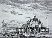 Pacific Northwest Drawings Posters - Semiahmoo Lighthouse - Drawing Poster by James Williamson