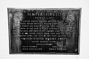 Semper Fidelis Posters - Semper Fidelis United States Marines Plaque Key West Florida Usa Poster by Joe Fox