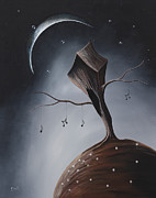 Fantasy Tree Art Painting Framed Prints - Send Me Your Love While I Sleep by Shawna Erback Framed Print by Shawna Erback
