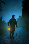 Oil Lamp Photos - Senior Victorian Man With Lantern by Lee Avison