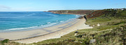 Cape Cornwall Framed Prints - Sennen Cove beach and Cape Cornwall panorama Cornwall UK Framed Print by Stephen Rees