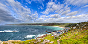 Sennen Cove Framed Prints - Sennen Cove Panorama - Cornwall Framed Print by Mark E Tisdale