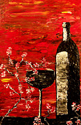 Wine Bottle Paintings - Sensual Awakening by Mark Moore