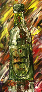Wine Bottle Paintings - Sensual Explosion Bottle 2 by Mark Moore