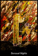 Vintage Wine Lovers Painting Prints - Sensual Nights Named Print by Mark Moore