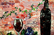 Wine Reflection Art Painting Metal Prints - Sensual Persuasion  Metal Print by Mark Moore