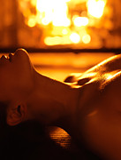 Burning Love Prints - Sensual photo of Naked Woman in Front of Fireplace Print by Oleksiy Maksymenko