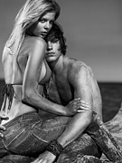 Young Man Posters - Sensual Portrait of a Young Couple on the Beach Black and white Poster by Oleksiy Maksymenko