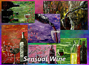 Pouring Wine Painting Framed Prints - Sensual Wine Collage Framed Print by Mark Moore