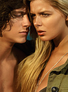 Young Man Posters - Sensual young couple faces Poster by Oleksiy Maksymenko