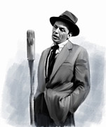 Main Street Drawings - Sentimental Bliss Frank Sinatra  by Iconic Images Art Gallery David Pucciarelli