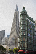Sentinel Building Prints - Sentinel and Transamerica in oil Print by David Bearden