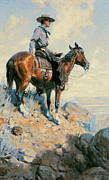 Lookout Painting Prints - Sentinel of the Plains Print by William Herbert Dunton