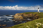 Yaquina Head Light Prints - Sentinel on the Rocks Print by Andrew Soundarajan