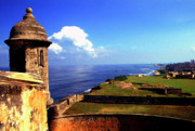 San Cristobal Acrylic Prints - Sentry Box and Sea Castillo de San Cristobal Acrylic Print by Thomas R Fletcher